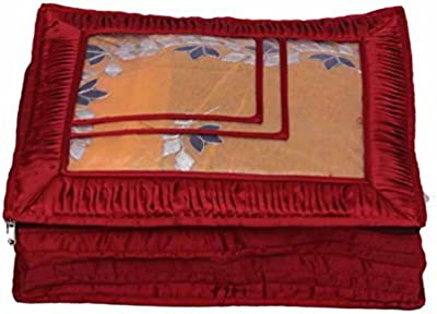 Kuber Industries™ Saree Lahenga Cover in Heavy Quilted Satin (Maroon) Wedding Gift