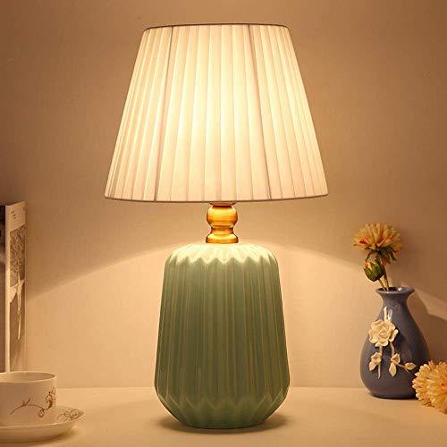 Lámparas de Mesa Lámpara de Mesa de cerámica Dormitorio Moderno Simple Lámpara de mesita de Noche Creativo Pequeño Fresco Luz cálida Sala de Estar nórdica (Color: Verde)