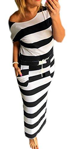 Mikos Sommerkleid Damen Lang Striped Sleeveless Beach Kleid Partykleid Elegant (367) (S/M)