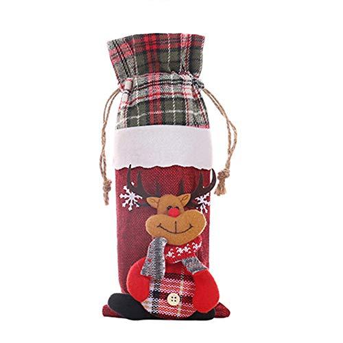 Sanwood Sac de couverture de bouteille de vin de Noël Elk Bonhomme de neige Père Noël Père Noël Imprimé Décoration de table Elk##