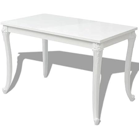 vidaXL Table de salle à manger 120 x 70 x 76 cm Laquée Blanc