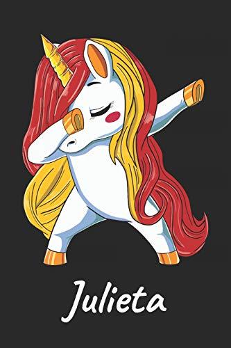 Julieta: Cuaderno de notas blanko para niña y mujer con nombre personalizado y diseño de kawaii cuaderno unicornio bailarin con pelo en los colores de ... universidad, regalo de cumpleaños y navidad.