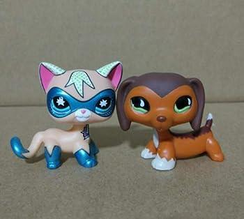 2pcs/Lot Littlest Pet Shop Comic CON CAT & Savannah Savvy Dachshund Dog