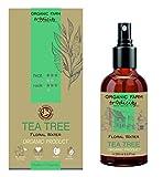 Organic Farm Hidrosol Loción secadora Puntos negros Agua Floral Orgánica de Tea Tree (árbol del té) 250 ml Botella de vidrio en aerosol, Anti acné