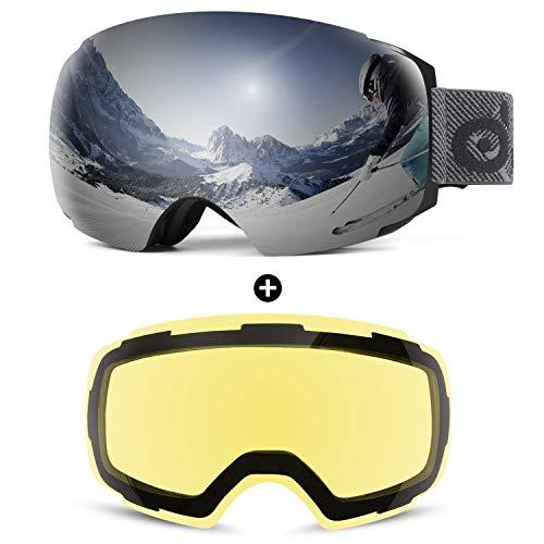 Odoland Skibrille Ski Goggles für Damen und Herren Jungen Rahmenlose Snowboardbrille mit Magnetische Wechselglas OTG Design UV-Schutz Helmkompatible zum Skifahren Weiß VLT 15%+ Gelb VLT 83%