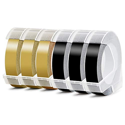 Prägeband Schriftband Kassette 12mm weiß auf schwarz 3D für Dymo 0898132