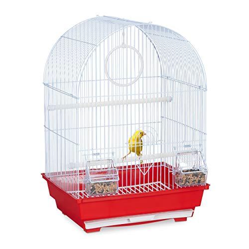 Relaxdays Vogelkäfig, Käfig Kanarienvögel, Zebrafinken, Sitzstangen, Schaukel, Futternäpfe, HBT 49,5 x 34,5 x 31 cm, rot