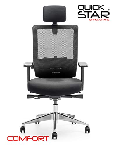 Chefsessel COMFORT Schwarz Multifunktions Bürosessel Höchstbelastbarer Schreibtischstuhl mit Lumbarunterstützung 3D Armlehnen Ergonomischer Drehstuhl