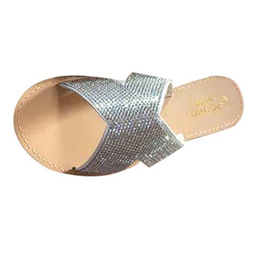 Beonzale Frauen Sommer Modetrend Damen Wohnungen offene Zehen Strass Sandalen Freizeitschuhe Schuhe Schnalle Riemen Freizeit Strandschuhe Slip on Hausschuhe