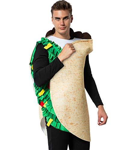 EraSpooky Adult Mexican Food Taco Costume Fancy Dress Halloween Party Funny Outfit for Men Women