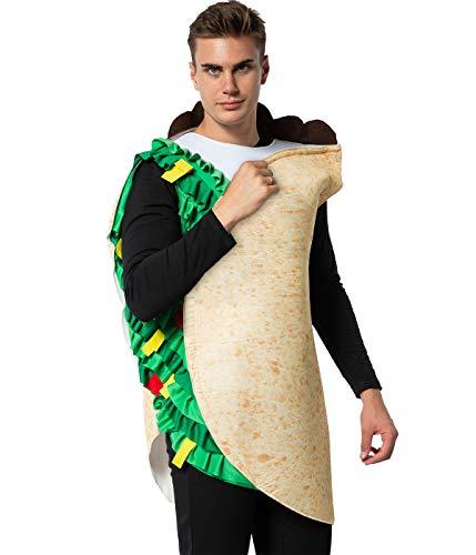 EraSpooky Disfraz de Taco de Comida Mexicana para Adultos Disfraces Fiesta de Halloween Traje Divertido para Hombres Mujeres
