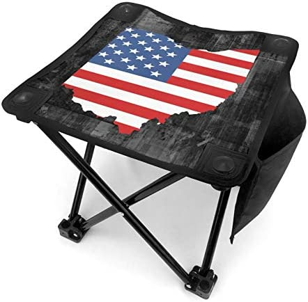 Map of The State of Ohio and American Flag Folding Camping Stool Portable Camping Fishing Chair product image