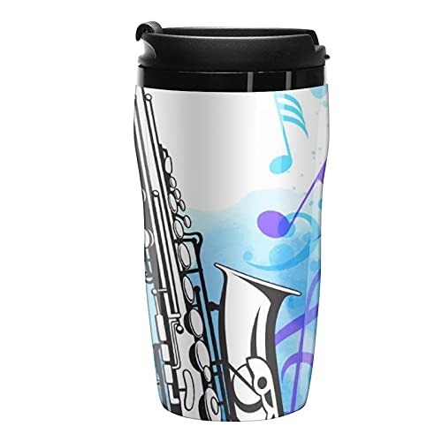 Double Wall Travel Coffee Mug Musical Notes Thermal-Insulated Water Tumbler With Lid 8.5oz