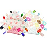 NO Crinkle Sound Baby Girl Tag Blanket - Baby Comfort Blanket with Tags - Taggy Blanket Comfort Security Blanket Great Gift for Baby, Toddler, Kids
