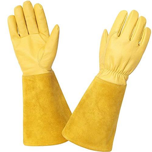 Rose Pruning Gloves for Men and Women. Goatskin Leather Gardening Gloves