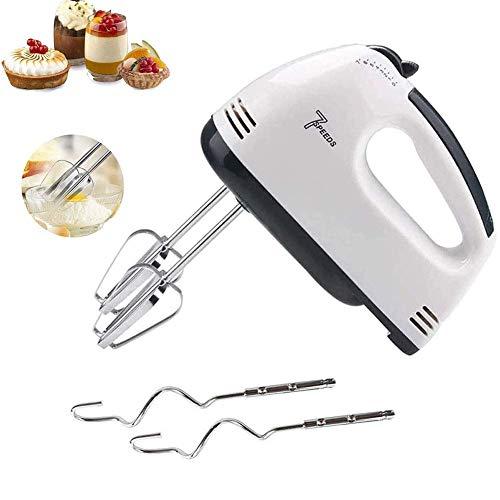 Mnjin Batteur à Main électrique à la Maison Fouet portatif léger à 7 Vitesses pour Le gâteau de Cuisson de Cuisine Mini Batteur de Nourriture à la crème aux œufs - 2X batteurs, 2X Crochets pétriss