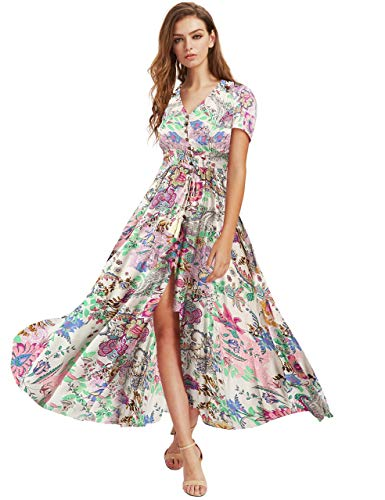 Milumia Women Button Up Floral Print Party Split Flowy Maxi Dress Multicolour X-Large