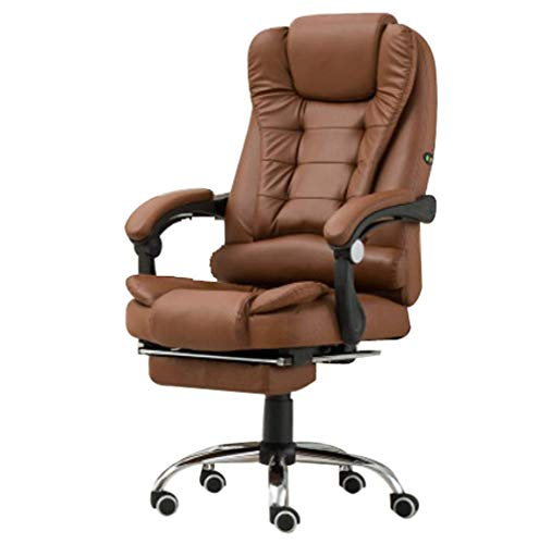 Computerstoel, bureaustoel voor ergonomie, stoel Reclining baas Lift Chair Swivel Chair Massage voetsteun Retro size DONKERBRUIN