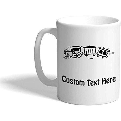 Taza de café personalizada 330 ml Caracteres del juguete del tren Taza de té de cerámica Texto personalizado