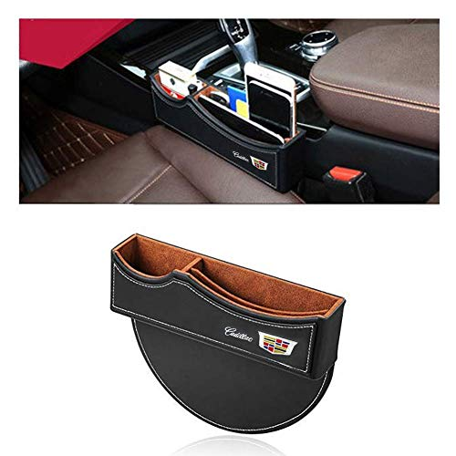 DEFTEN Car Seat Gap Filler Premium PU Full Leather Seat Console Organizer, Car Seat Storage Box for Cadillac XT6 XT5 XT4 CT6 CT5 XTS CTS ATS SLS Escalade (Black) (1-Pack)