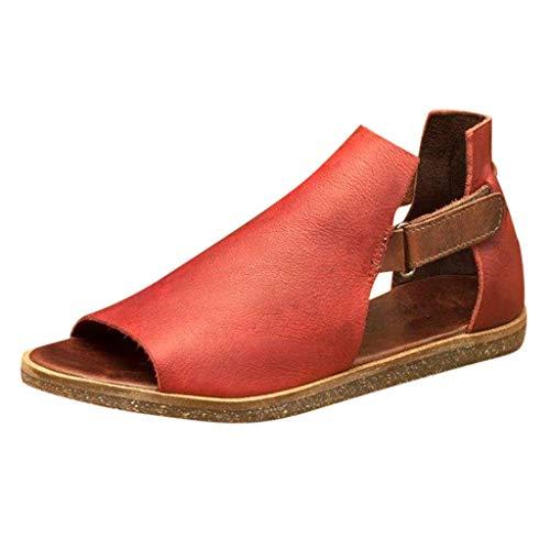 LCCYJ Sandalias Planas para Mujer Sandalias De Boca De Pez Huecas Vintage De Verano Zapatos Romanos con Suela Suave Antideslizante Zapatillas De Playa,03,36