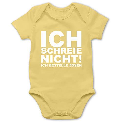 Shirtracer Sprüche Baby - Ich Schreie Nicht, ich bestelle Essen! - 6/12 Monate - Hellgelb - Baby Kleidung lustig Junge - BZ10 - Baby Body Kurzarm für Jungen und Mädchen