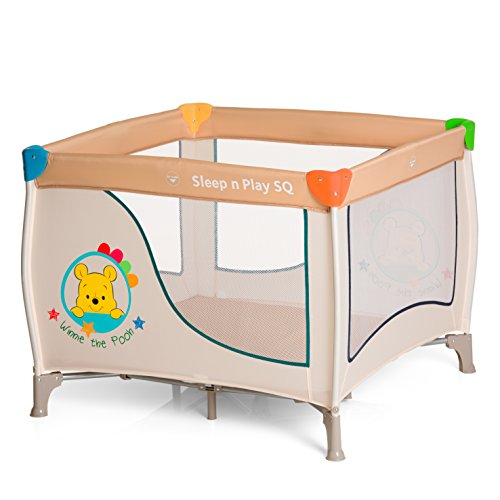 Hauck / Sleep N Play SQ / Parc Bébé Carré Léger 3 Pièces / Lit de Voyage avec Matelas et Sac de Transport / Lit parapluie de 90 x 90 cm / pliable / Disney Pooh Ready to Play (Beige)