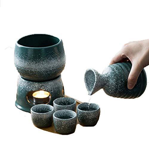 HHTX Set di 7 Pezzi di Sake, Bicchieri da Vino smaltati con Fiocchi di Neve Verde Malachite con...