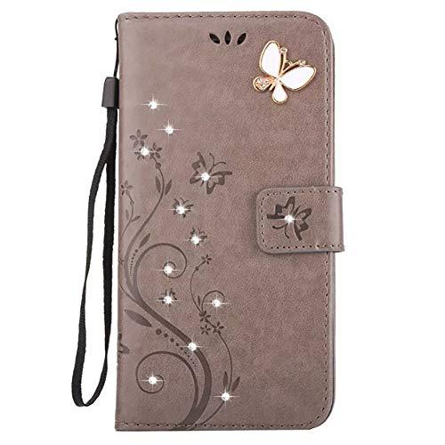 Sweau Coque Cuir iPhone 5S, Etui iPhone Se, Motif Embosser Fleur de Papillon Strass Housse Cuir PU Etui Portefeuille en Cuir avec Fentes de Cartes Support Etui Coque pour iPhone 5/5S/SE