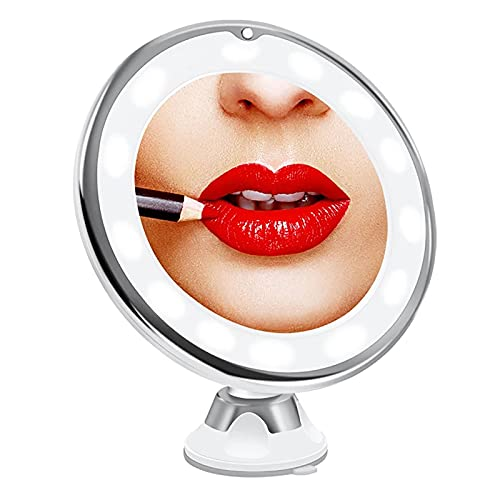 HFZY Espejo de maquillaje montado en la pared con 10 aumentos de doble cara plegable LED espejo de baño con luces y giro de 360 ° para baño de viaje
