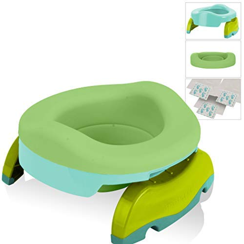 Potette Plus Potty Value Pack: Kalencom 2in1 Potette Plus Portable Potty and Reusable Collapsible Liner for Home Use (Teal/Green)