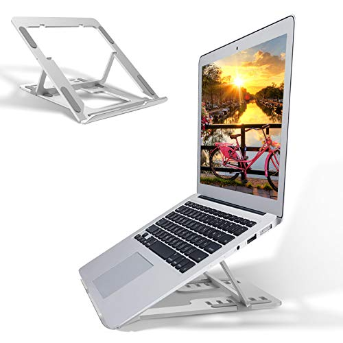 Venoro Laptop Stand Adjustable Computer Stand for Laptop Ergonomic Aluminum Laptop Riser for Desk Compatible with MacBook Air Pro, Dell XPS,HP,Lenovo More Laptops and Tablets 10''-17.3' - Silver