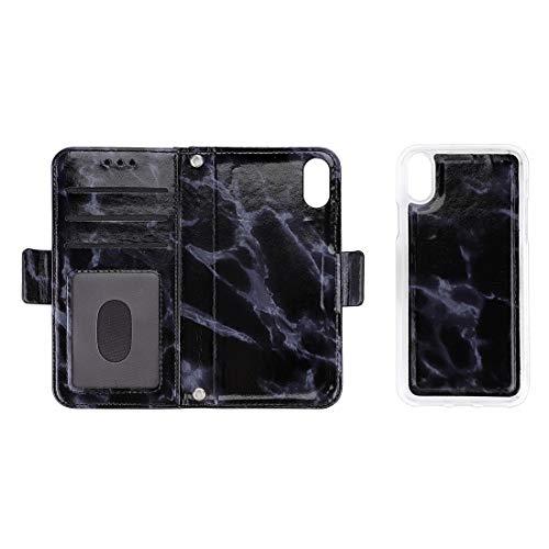 Shockproof LIJM Afneembare Marmer Patroon TPU + Pu Lederen Tas Met Card Slot & Wallet & Draagkoord For IPhone X/XS (zwart) Decoratie (Color : Black)