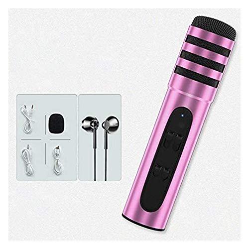 Micrófono De Grabación De Música, Micrófono Condensador Efectos De Sonido De Reverberación Integrada para Grabación De Teléfonos, Juegos, Podcasting Y Karaoke Cantando (Color : Pink)