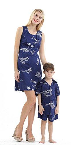 Hawaii Hangover Conjunto de Luau Hawaiano de Madre e Hijo Vestido de Mujer Camisa de niño Solamente Azul Marino Flamenco clásico L-14