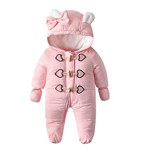Simplee kids Baby Infant Boys Girls Snowsuit Winter Hooded Footed Warm Jumpsuit Outerwear with Gloves for 6-9 Months