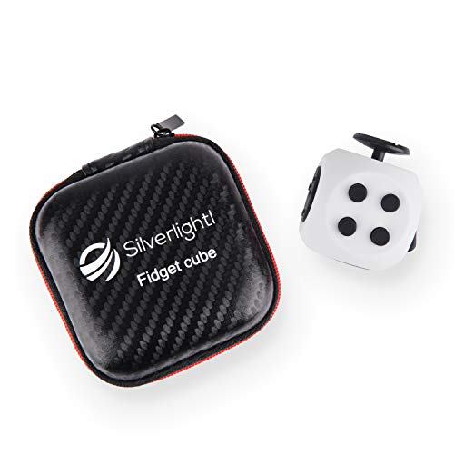 Stress Relief Fidget Cube: Calming Toy for Focus, Relaxation, Distraction & Improved Mood for Anxiety, Autism, Anger, ADD, ADHD & PTSD by Silverlightl (White/Black)