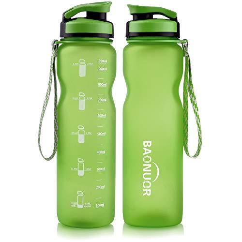 BAONUOR Trinkflasche 1L, BPA-Frei Tritan Wasserflasche Auslaufsicher Flasche 1000ml, grün