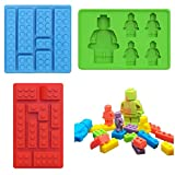 Building Brick Robot Multi-size Minifigure Silicone Ice Cube Tray Candy Chocolate Fondant Mold for Kids Party's and Baking DIY Cake Building Block Themes