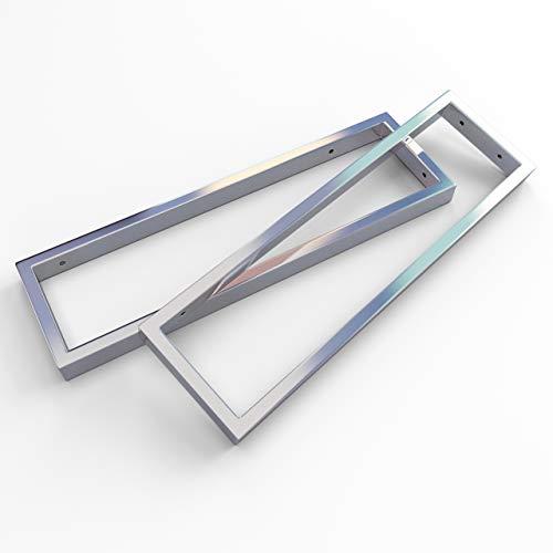 KERABAD 2 x Edelstahl Konsolenträger Konsole für Waschtischplatte Regal Handtuchhalter in hochglanzpoliert 45cm