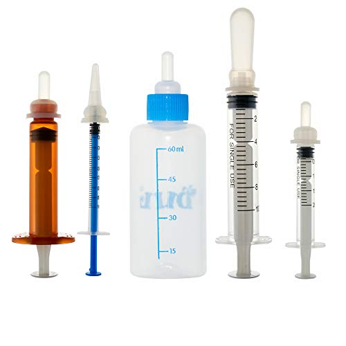 Pet Feeding Bottle Can Squeeze Liquid Feeding Kit and Replacement Mini Nipples for Kitten Puppy...