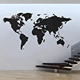 Decoración moderna del hogar mapa del mundo pegatina de pared vinilo calcomanía interior sala de estar mapa del mundo pegatina de pared calcomanía de vinilo A5 43x74cm