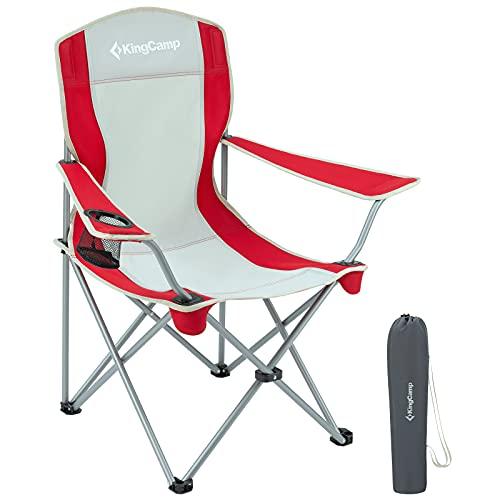 KingCamp - Sedia pieghevole da campeggio, in alluminio, portatile, per attività all'aperto, per campeggio, picnic, pesca, colore: rosso