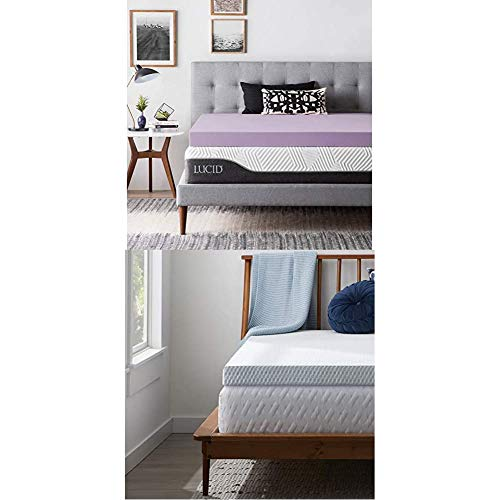 LUCID 4 Inch Lavender Infused Memory Foam Mattress Topper and LUCID Zippered Enclosure Mattress Topper Cover, Queen