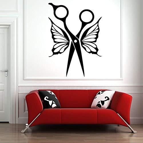 JHGJHGF Friseursalon Wand Vinyl Aufkleber Schönheitssalon Schere Schmetterling...