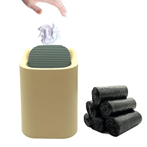 EQLEF Mini cubo de basura con tapa, organizador de almacenamiento de basura pequeño cubo de basura para dormitorio, oficina coche