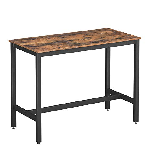 VASAGLE ALINRU Dining Table, Bar Table with Steel Frame, Multifunctional Desk for Dining Room or Living Room, Industrial Accent Furniture, Rustic Brown and Black ULBT91XV1