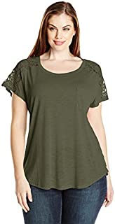 Paper + Tee Women's Plus-Size Short-Sleeve Lace-Trim Top