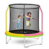 FAMIES Kids Trampoline Indoor with Enclosure Net,8FT Safety Jumping Exercise Trampoline for Children 2-12 Years Old for Indoor and Outdoor