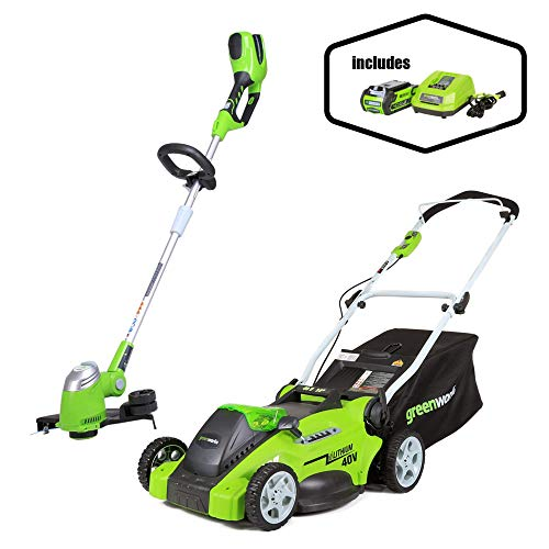 Review Of Greenworks 16-Inch 40V Cordless Lawn Mower + 13-Inch Cordless String Trimmer, 4.0 AH Batte...
